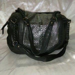Nanette Lepore Metallic Cobra Flap Shoulder Handba